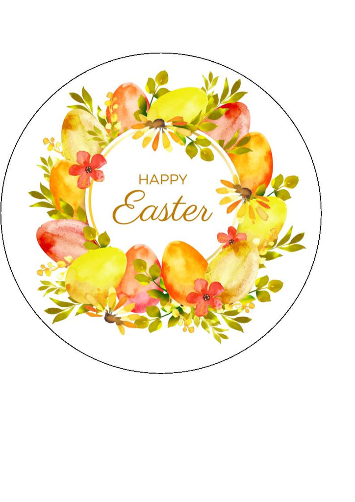 Easter Yellow Wreath Cake/Cupcake Toppers