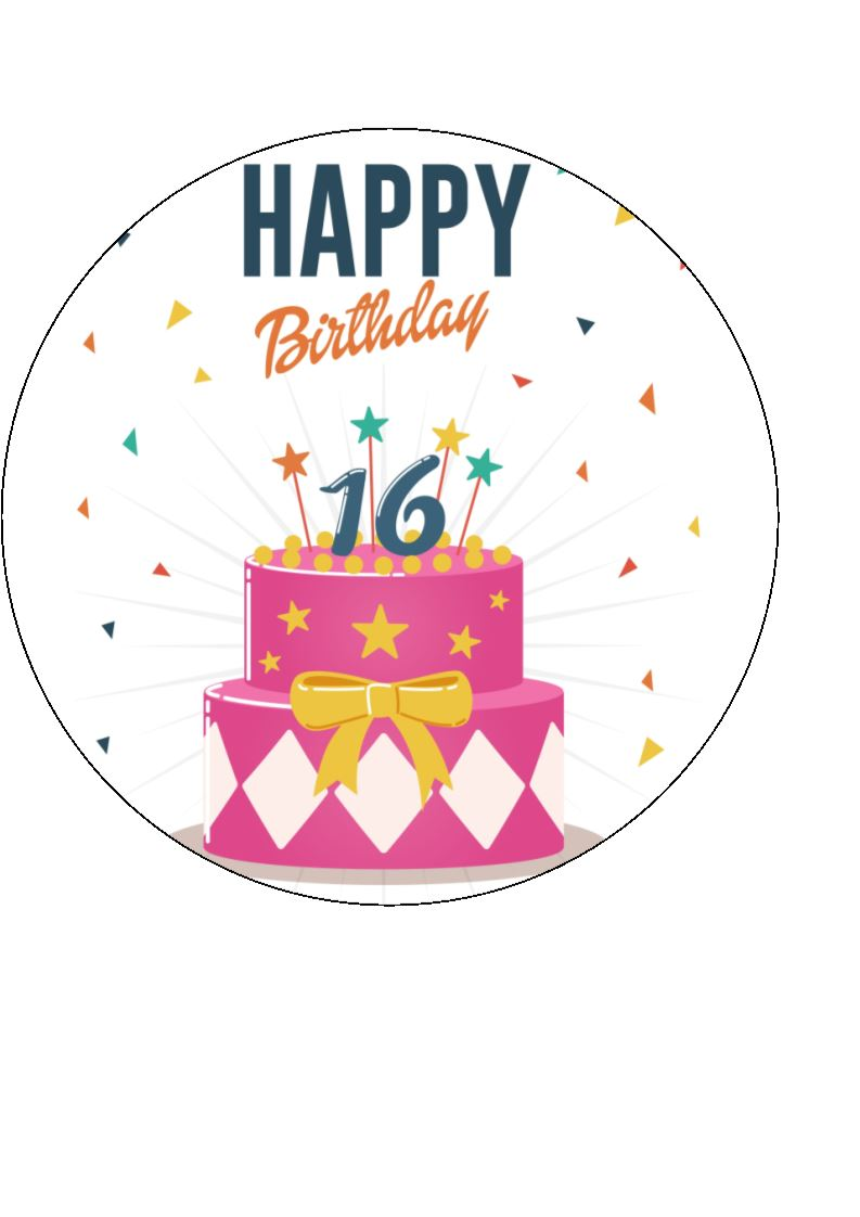 Sensational Happy 16Th Birthday Cake Edible Cake Cupcake Toppers Funny Birthday Cards Online Unhofree Goldxyz