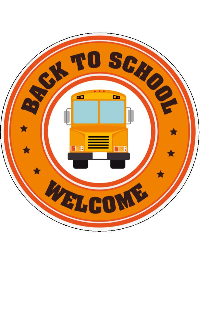 Back to school - design 9 - school bus - edible cake/cupcake toppers