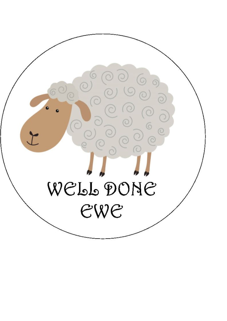 Well done ewe -  (edible cake/cupcake toppers)