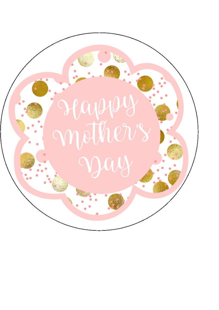 Mother's day edible cake/cupcake toppers. Design by Big Mabel - Light Pink