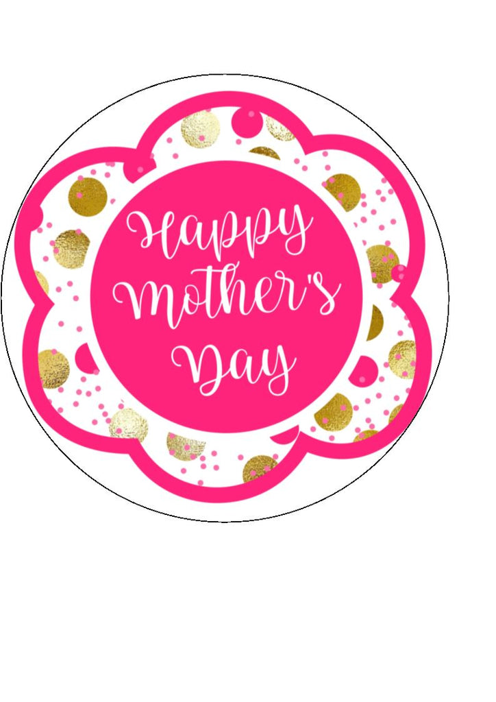 Mother's day edible cake/cupcake toppers. Design by Big Mabel -  Pink