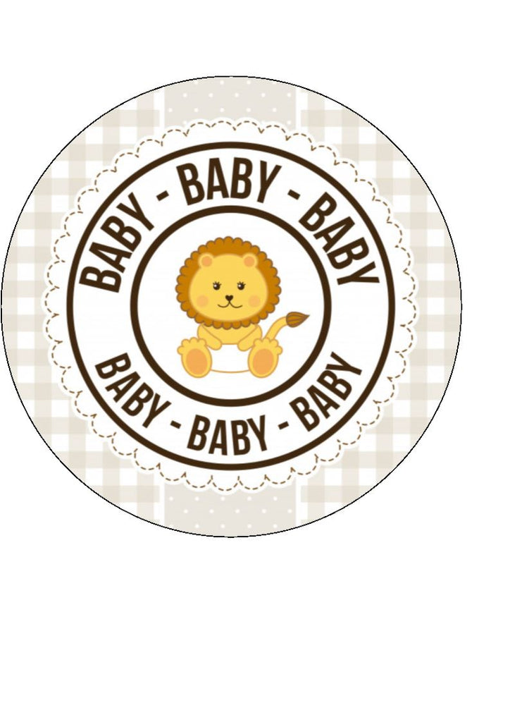 Baby Shower Lion edible cake/cupcake toppers