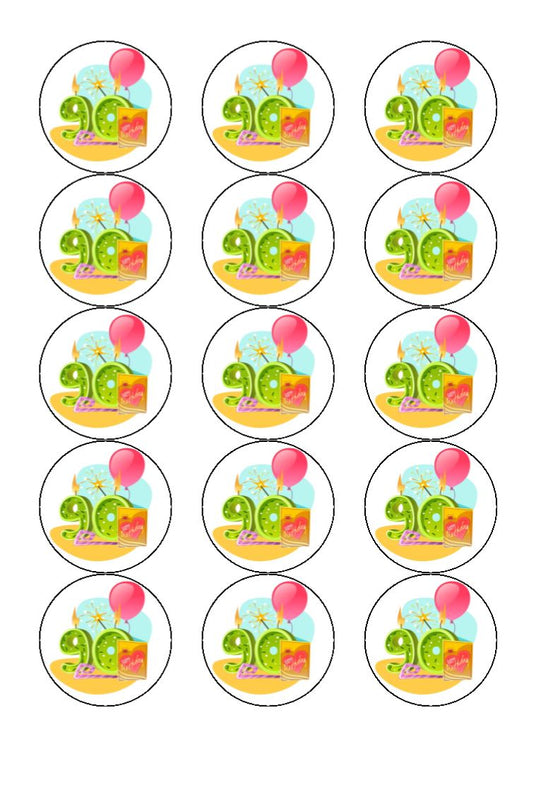 Happy 90th Birthday - Balloon - Edible cake/cupcake toppers