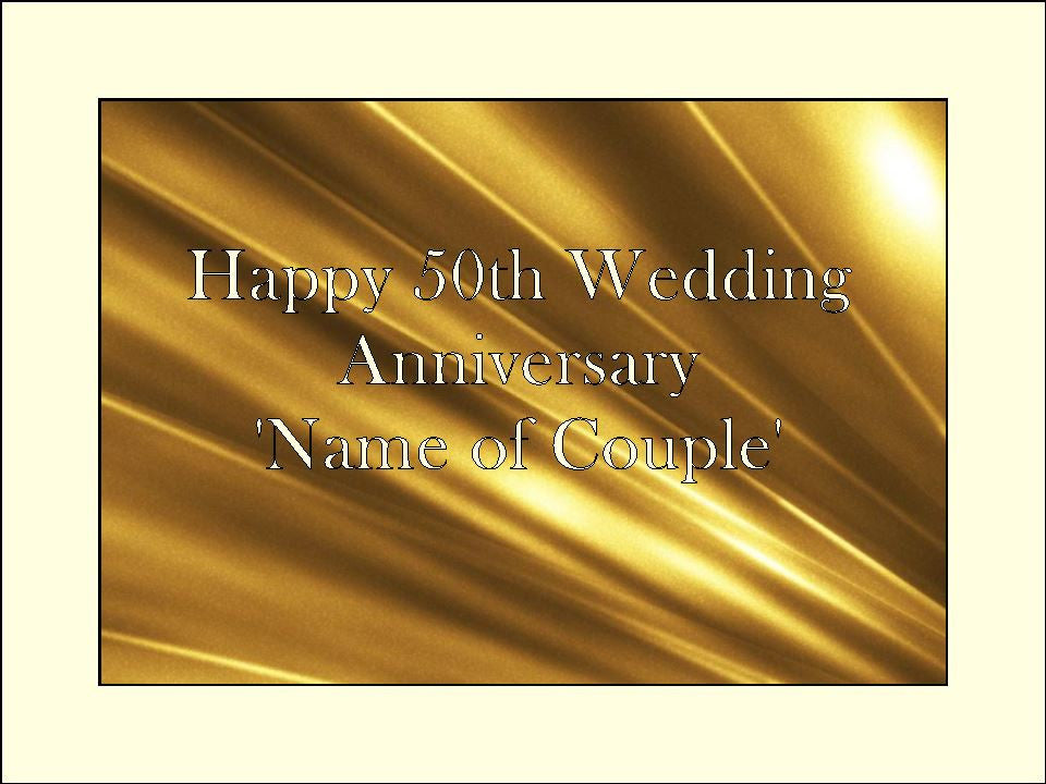 Golden 50th Wedding Anniversary Edible Cake & Cupcake Toppers
