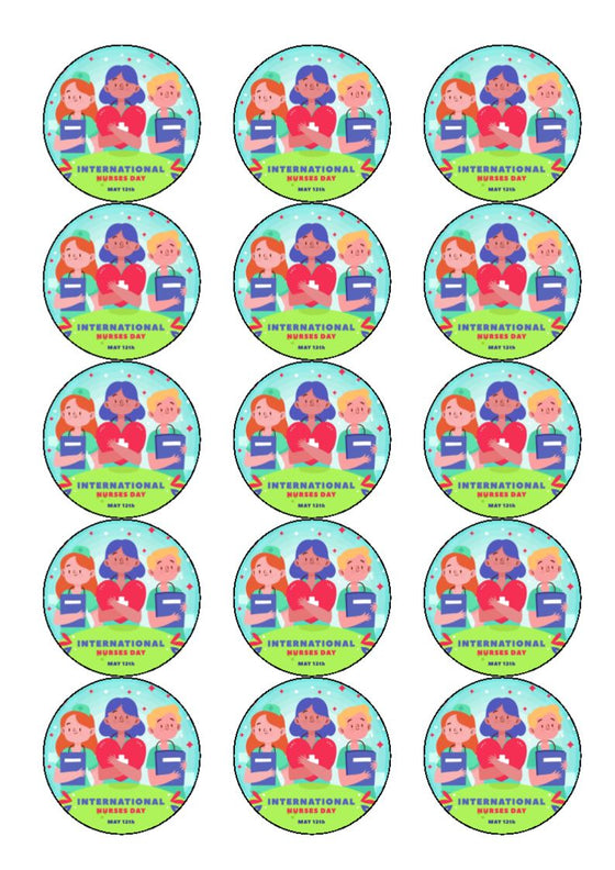 International Nurses Day - Design 4 -  edible cake/cupcake toppers