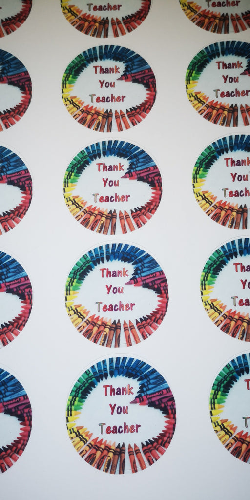 Crayon Thank You Teacher edible cupcake toppers