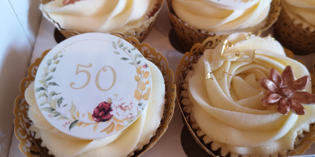 Golden Wedding Anniversary - edible cake/cupcake toppers