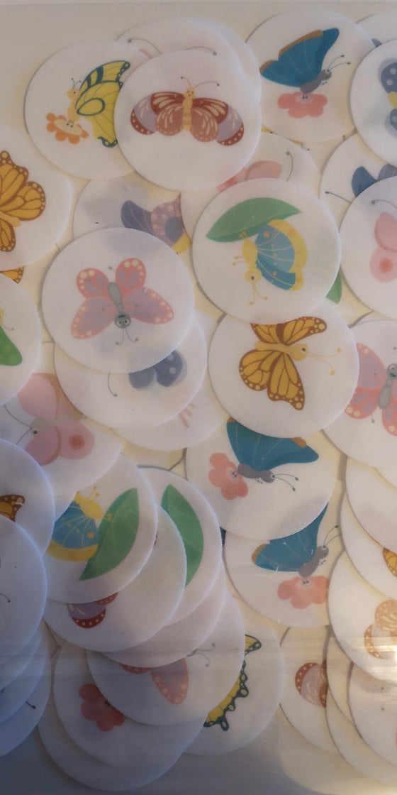 Butterflies (pastel) edible cake/cupcake toppers