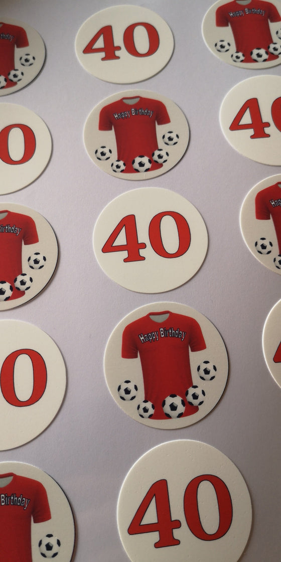 Happy Birthday football themed - red shirt - edible cake/cupcake toppers