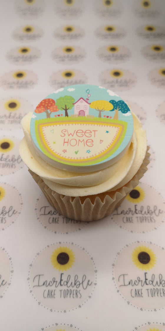 Happy New Home - Design 5 - edible cake/cupcake toppers
