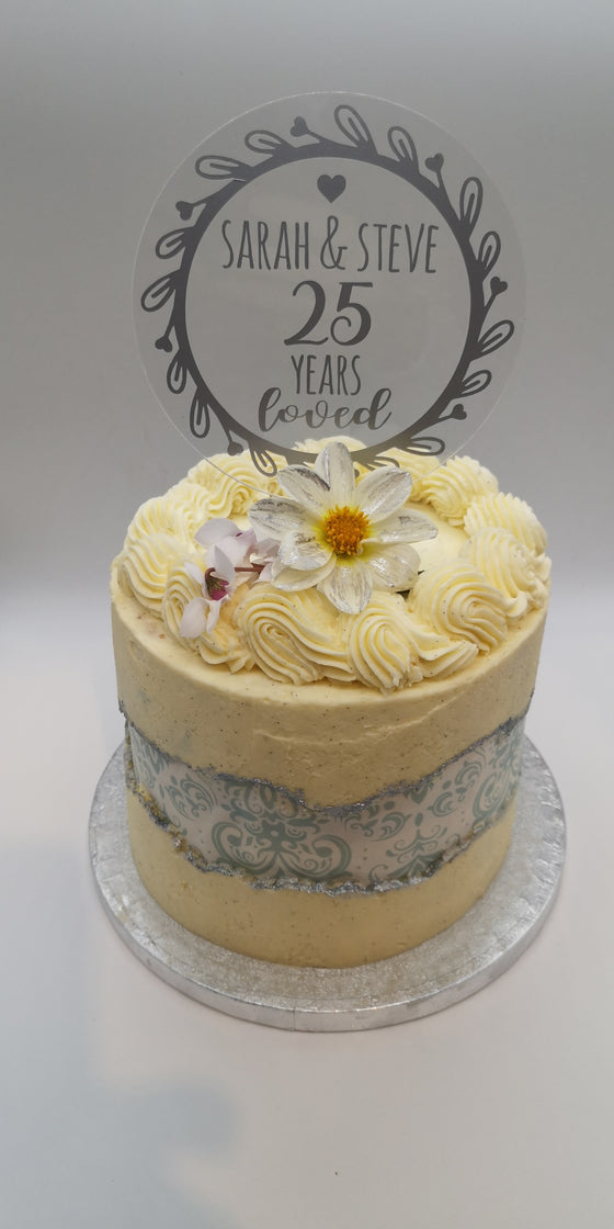 Cake Ribbons & Wraps - Silver Damask