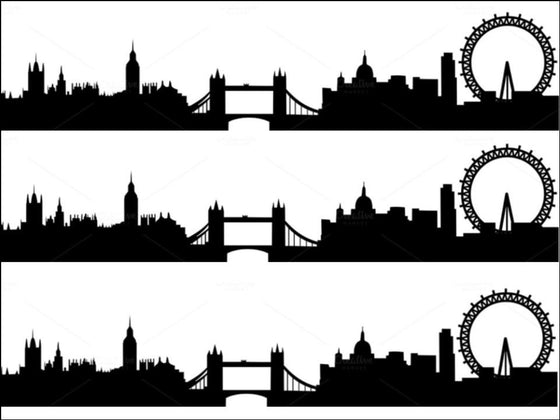 London Scene - Black Silhouette A4 Icing Sheets (not pre-cut)