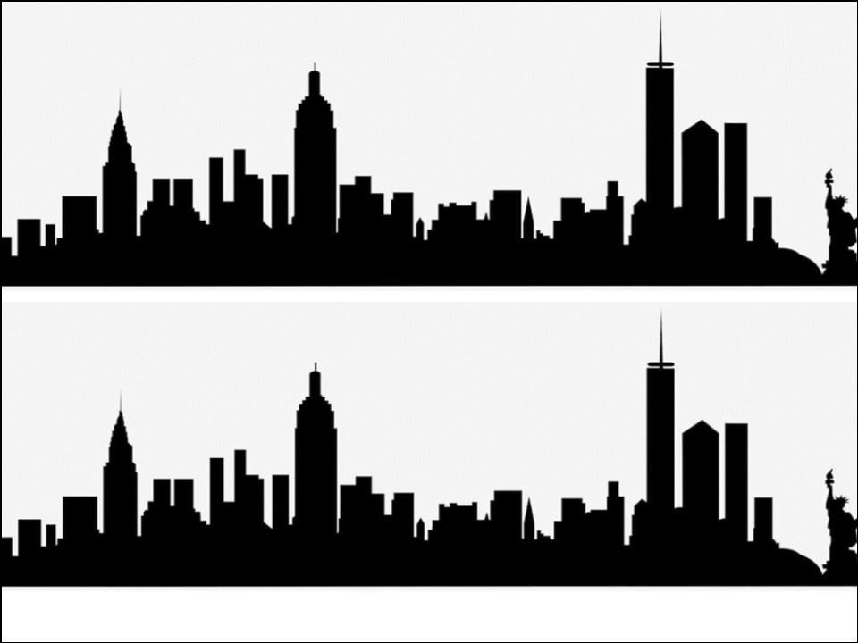 New York City Skyline Black Silhouette A4 Edible Fondant