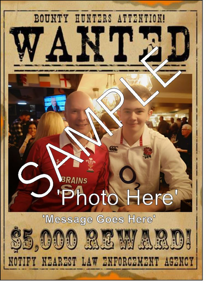 Wanted Poster - Edible A3 or A4 Cake Topper -  Upload or send your own images/photos and text