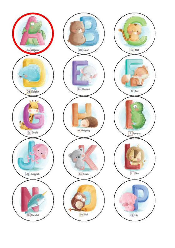 Baby alphabet cupcake toppers