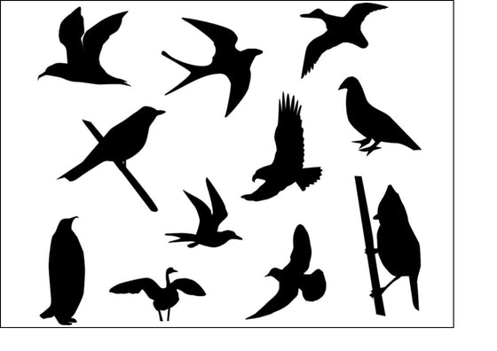 Black Silhouette A4 Edible Fondant Icing Sheets - Birds