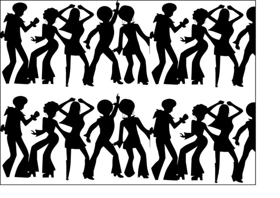Black Silhouette A4 edible fondant icing sheets - Disco dancers