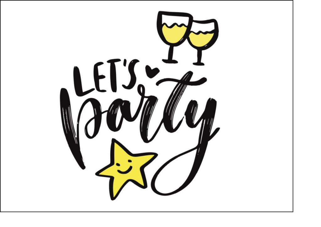 Let's Party - Design 1 - edible cake/cupcake/cocktail toppers