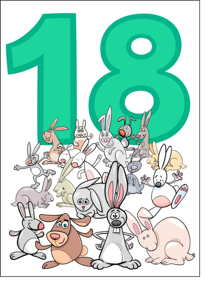 Happy 18th Birthday - Animals - Edible cake/cupcake toppers