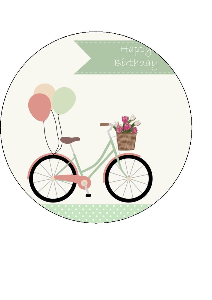 Bike Themed Happy Birthday Edible Cake & Cupcake Toppers