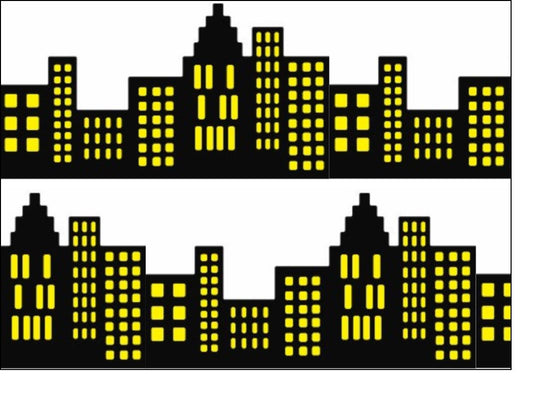 Black Silhouette A4 Edible Fondant Icing Sheets - City (Yellow)
