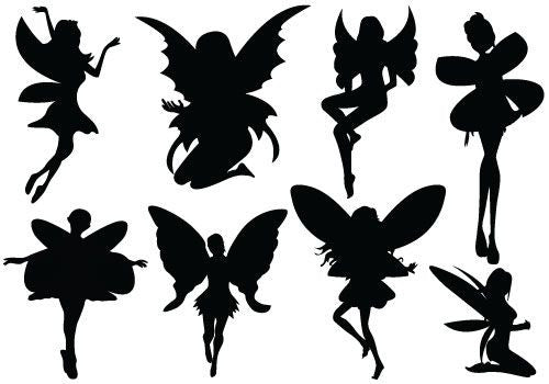 Fairies - Black Silhouette A4 Edible Fondant Icing Sheets (not pre-cut)