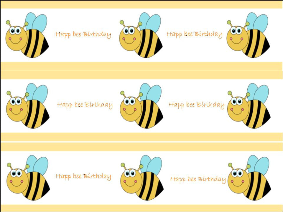 Happ bee Birthday Edible Fondant Cake Wrapper