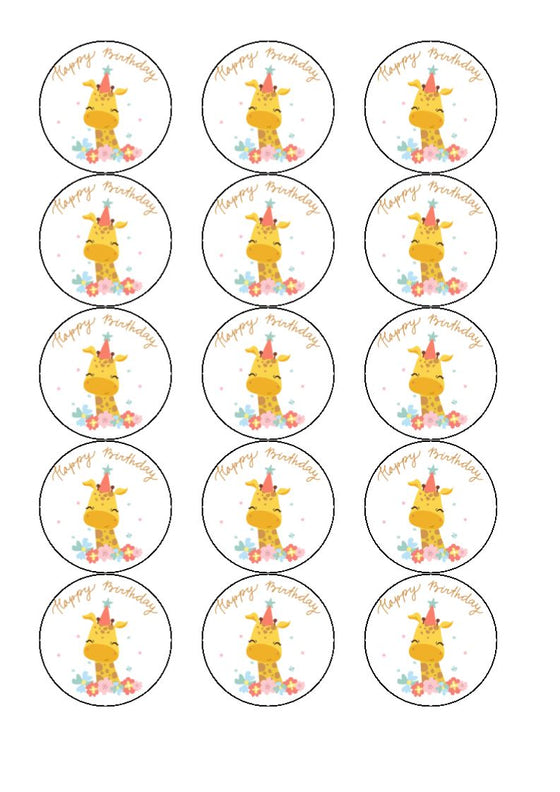 Happy Birthday - Giraffe - Edible cake/cupcake toppers