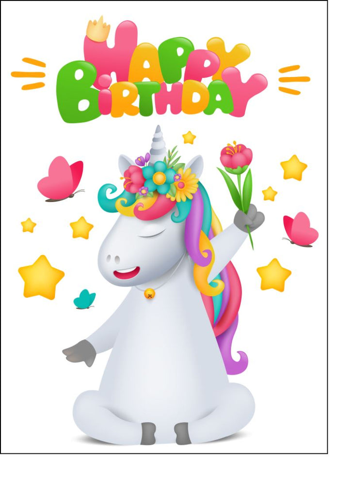 Happy Birthday - Bright Unicorn - Edible cake/cupcake toppers