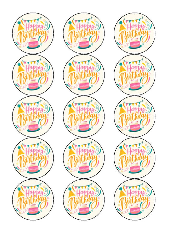 Happy Birthday - Celebrate - Edible cake/cupcake toppers