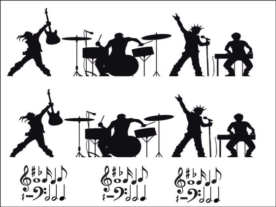 Musicians and Musical Notes - Black Silhouette A4 Edible Fondant Icing Sheets (not pre-cut)