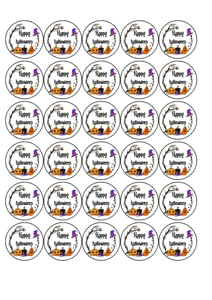 Halloween - Design 2 - edible cupcake toppers (text can be personalised)