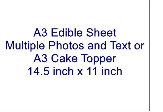A3 RECTANGLE EDIBLE SHEET - ADD MULTIPLE PHOTOS AND TEXT
