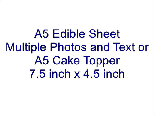 A5 RECTANGLE EDIBLE SHEET - ADD MULTIPLE PHOTOS AND TEXT
