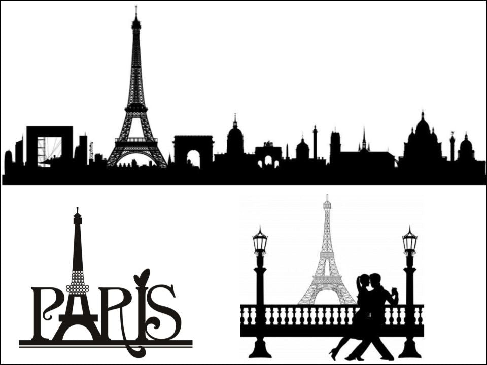 Romantic Paris - Black Silhouette A4 Edible Fondant Icing Sheets (not pre-cut)