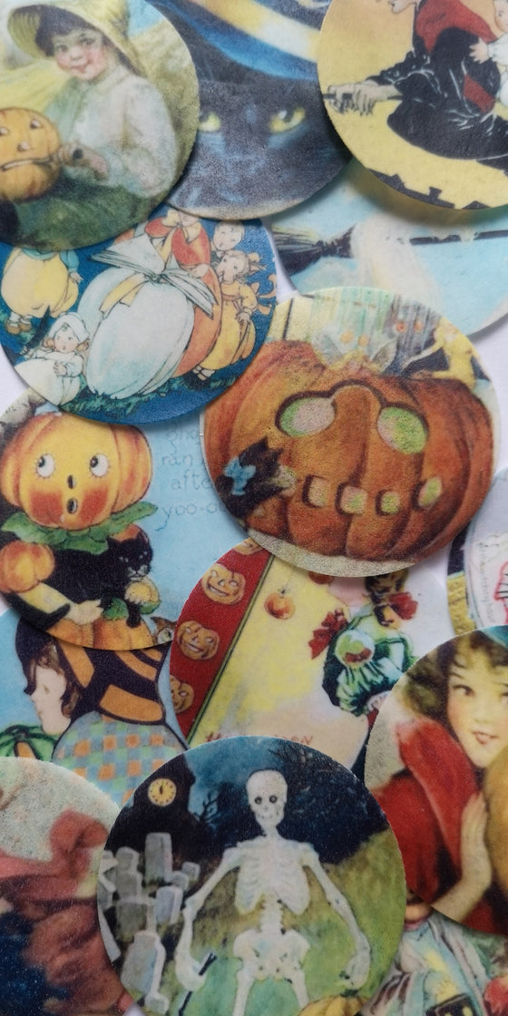 Vintage Halloween Edible Cupcake Toppers
