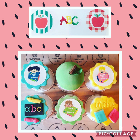 Back to school design 1 - edible cake/cupcake toppers