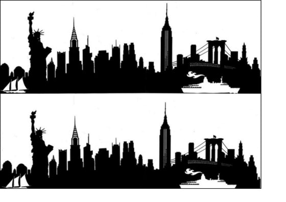 New York City Skyline - Option 2 - Black Silhouette A4 Edible Fondant Icing Sheets