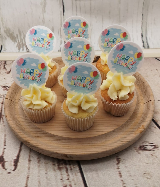 Happy Birthday - Sky - Edible cake/cupcake toppers