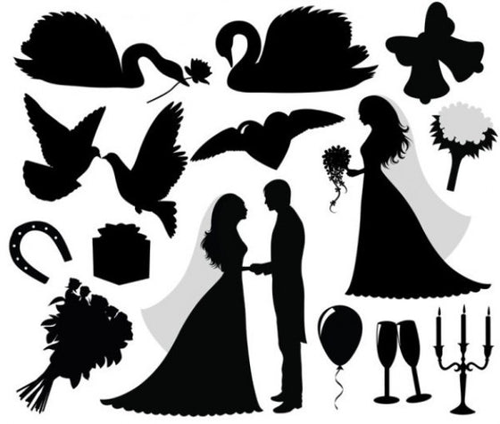 Wedding Black Silhouette A4 Edible Fondant Icing Sheets (not pre-cut)