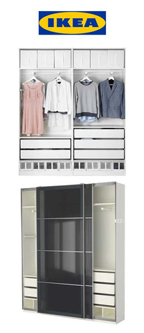 IKEA shallow wardrobe, Uggdal gray glass in the Manhattan 24