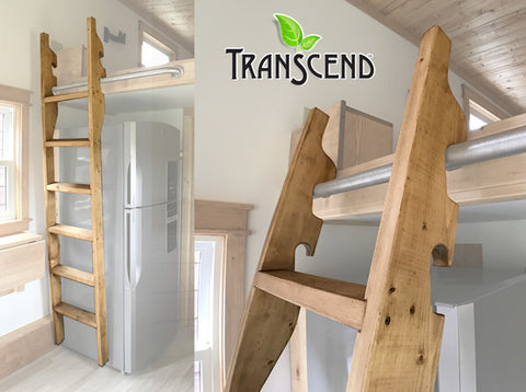Solid wood ladder custom crafted for Transcend Tiny Homes