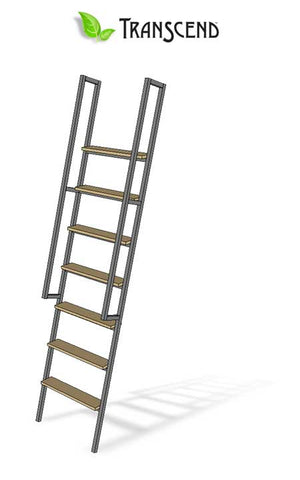 Hammer-tone steel ladder with birch wood steps