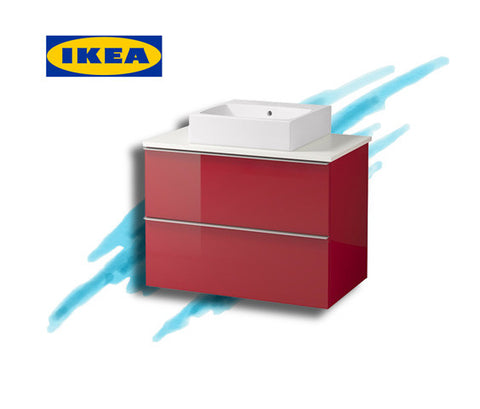 IKEA vanity high gloss red Transcend Tiny Homes