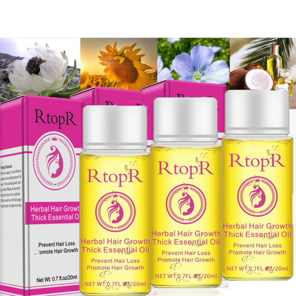 Bundle of 3 Natural Herbal Hair Growth Essential Oil
