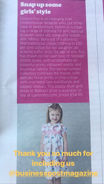 Cairenn Foy Girls Dresses feature in Irish Sunday Business Post