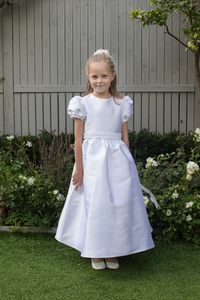 Olivia White Silk Communion Dress