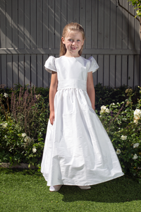 Mary White Silk Girls Communion Dress