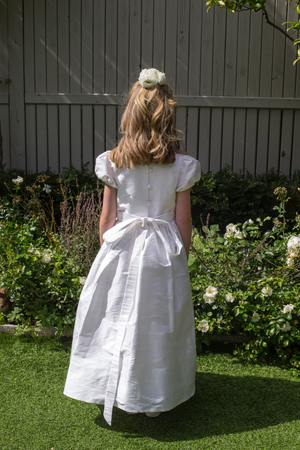 Ava White Silk Girls Communion Dress.